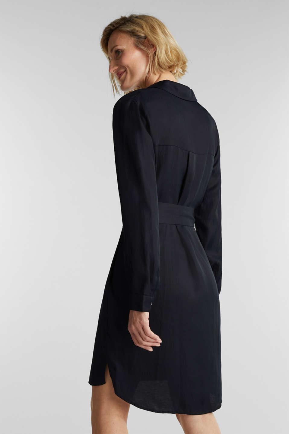 Blended linen: shirt dress with a belt, BLACK, detail image number 2