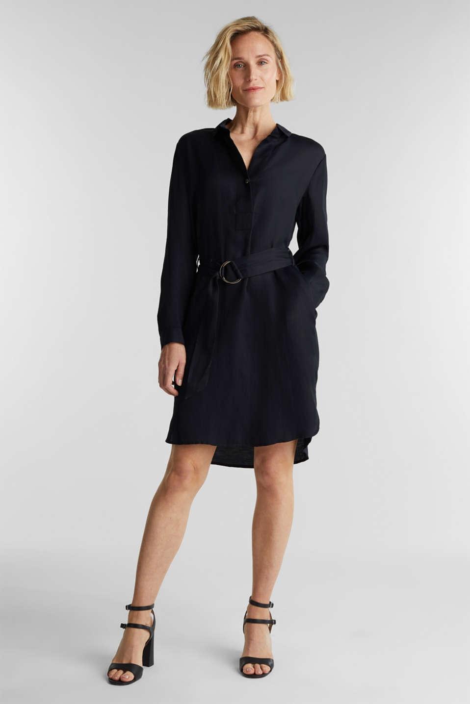 Blended linen: shirt dress with a belt, BLACK, detail image number 1