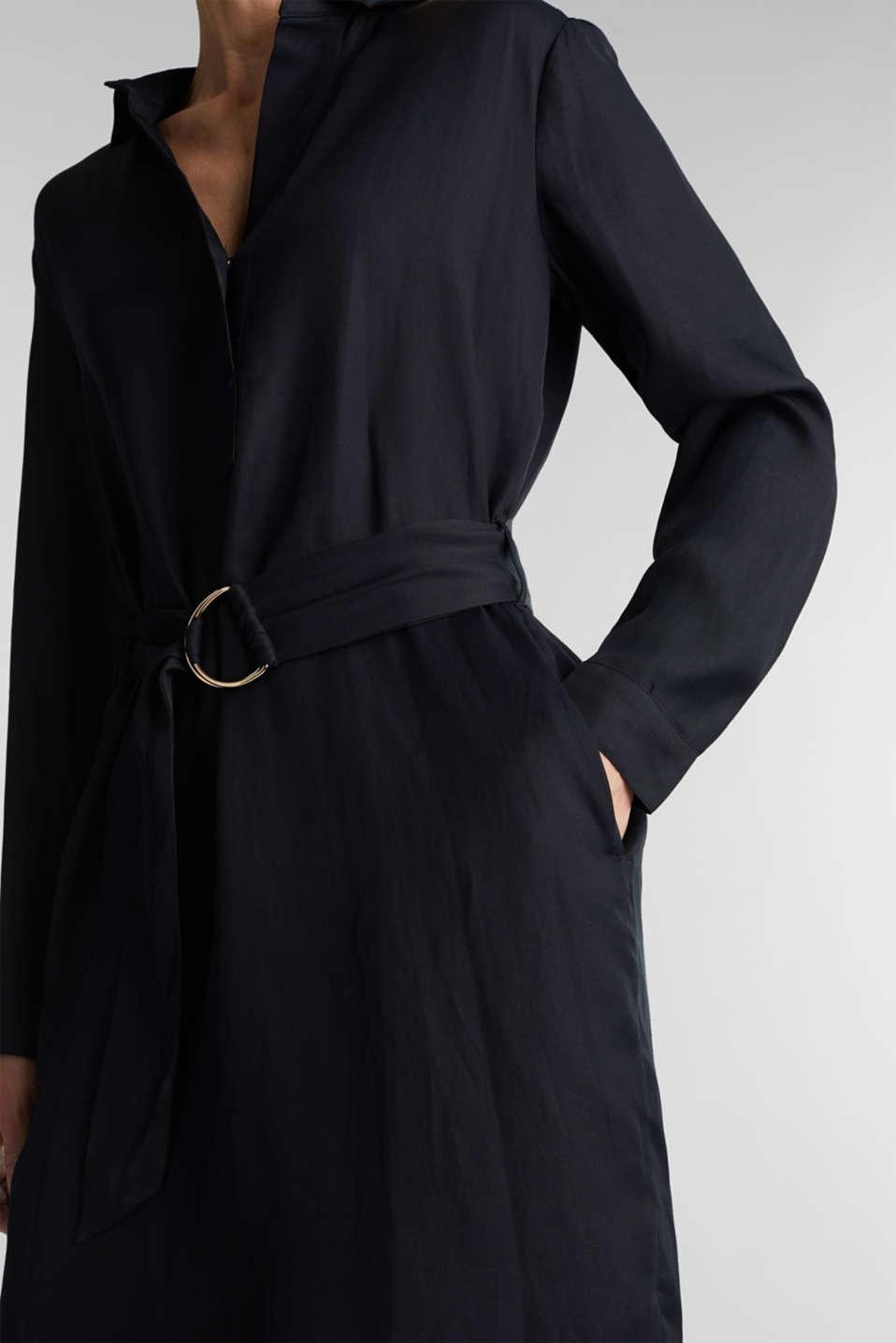 Blended linen: shirt dress with a belt, BLACK, detail image number 3