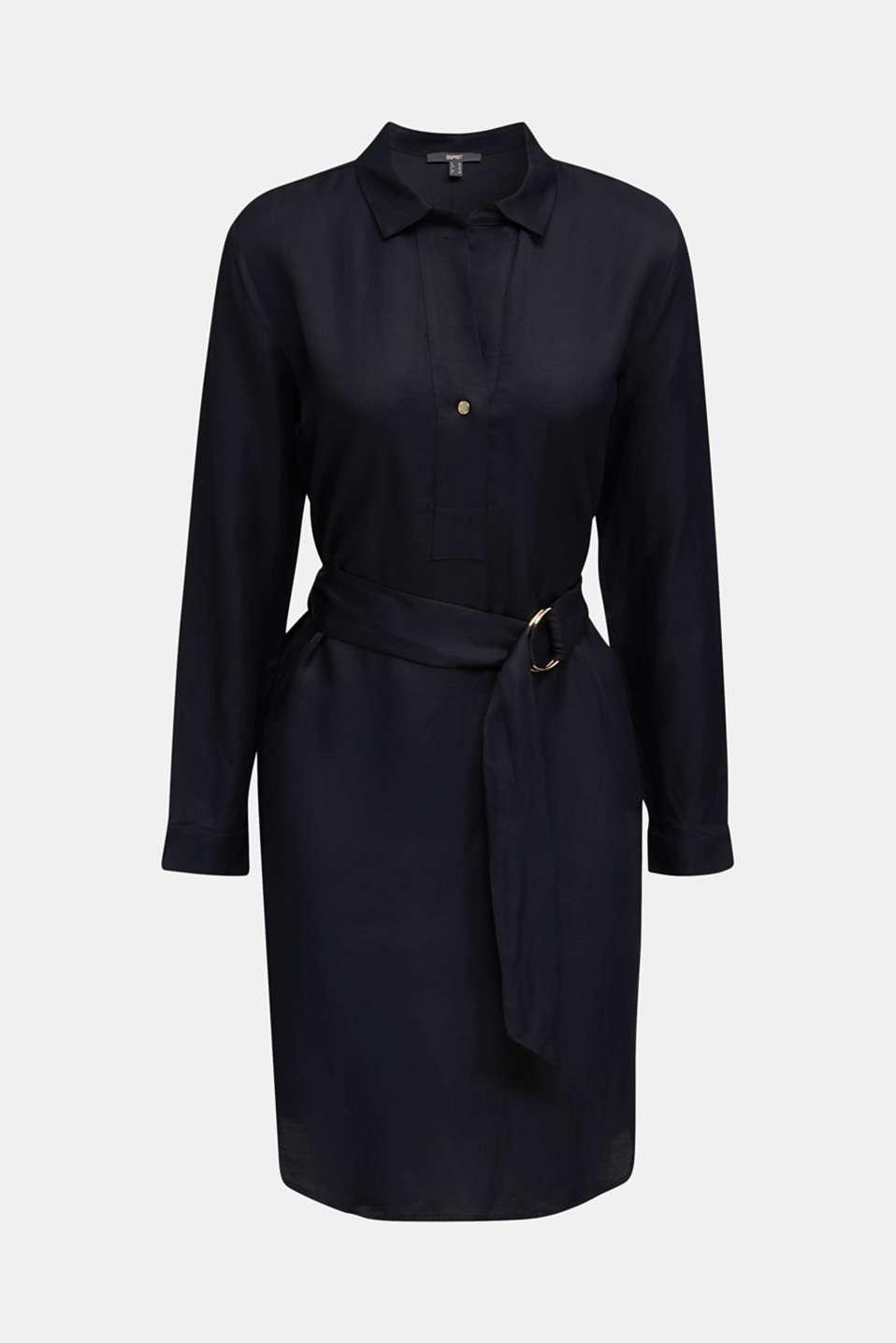 Blended linen: shirt dress with a belt, BLACK, detail image number 7
