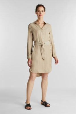 Linen blend: shirt dress, BEIGE, detail