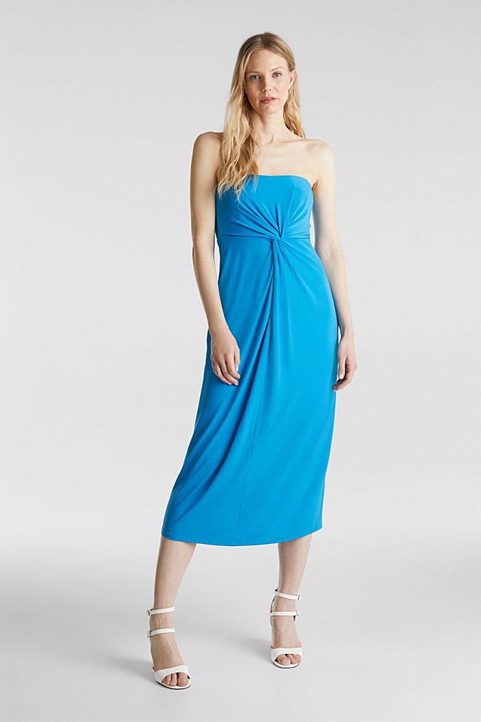 Jersey-Stretch-Kleid mit Drapé-Effekt, PETROL BLUE, detail image number 0
