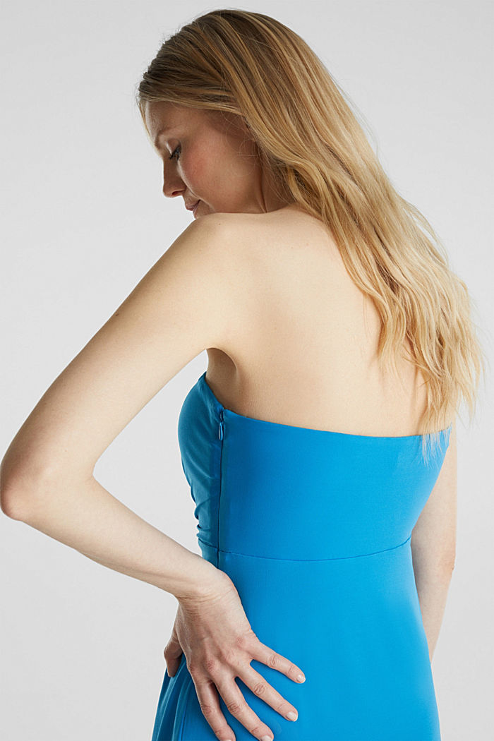Stretch jersey dress with a draped effect, PETROL BLUE, detail image number 3