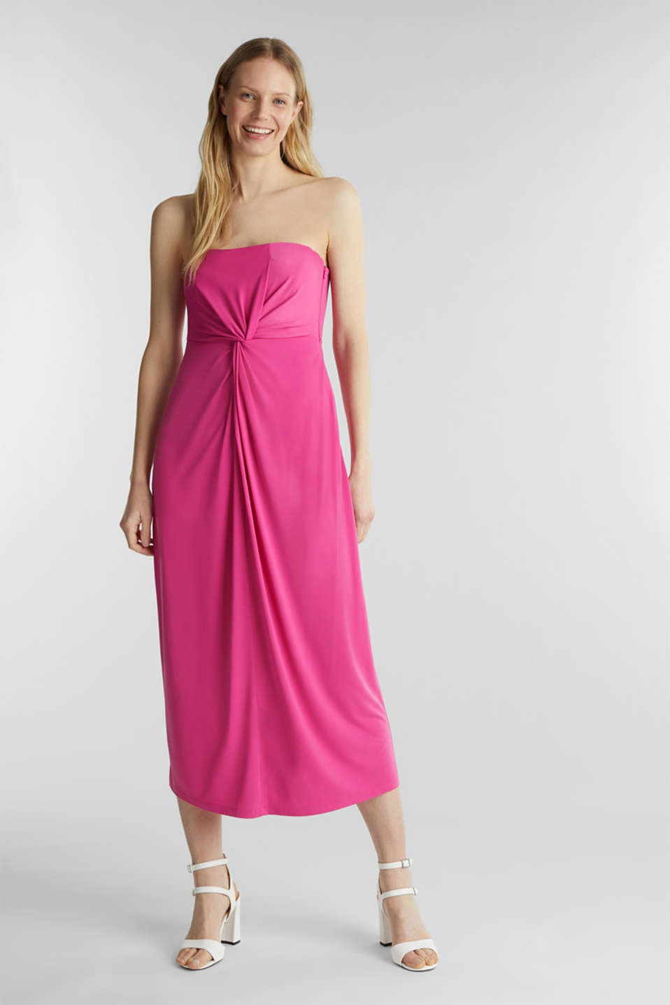 Stretch jersey dress with a draped effect, PINK, detail image number 0