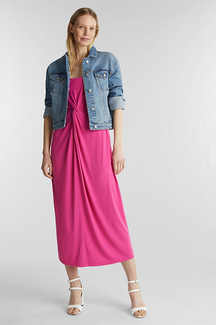 Stretch jersey dress with a draped effect, PINK, detail image number 1