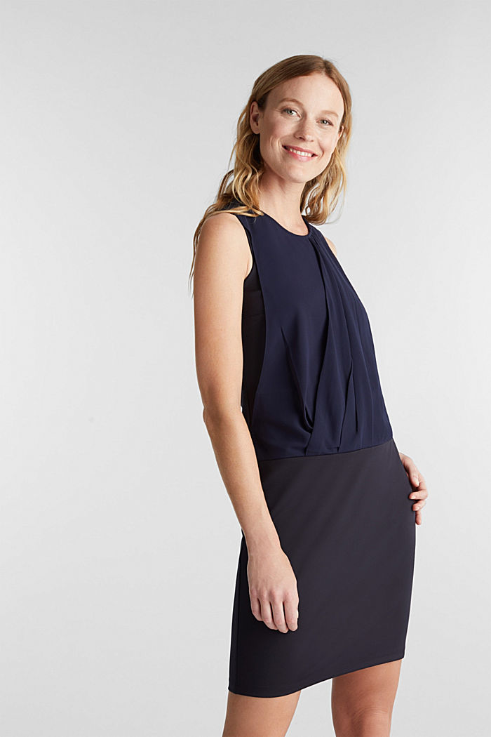 Jersey-Stretch-Kleid mit Chiffon-Layering, NAVY, detail image number 0