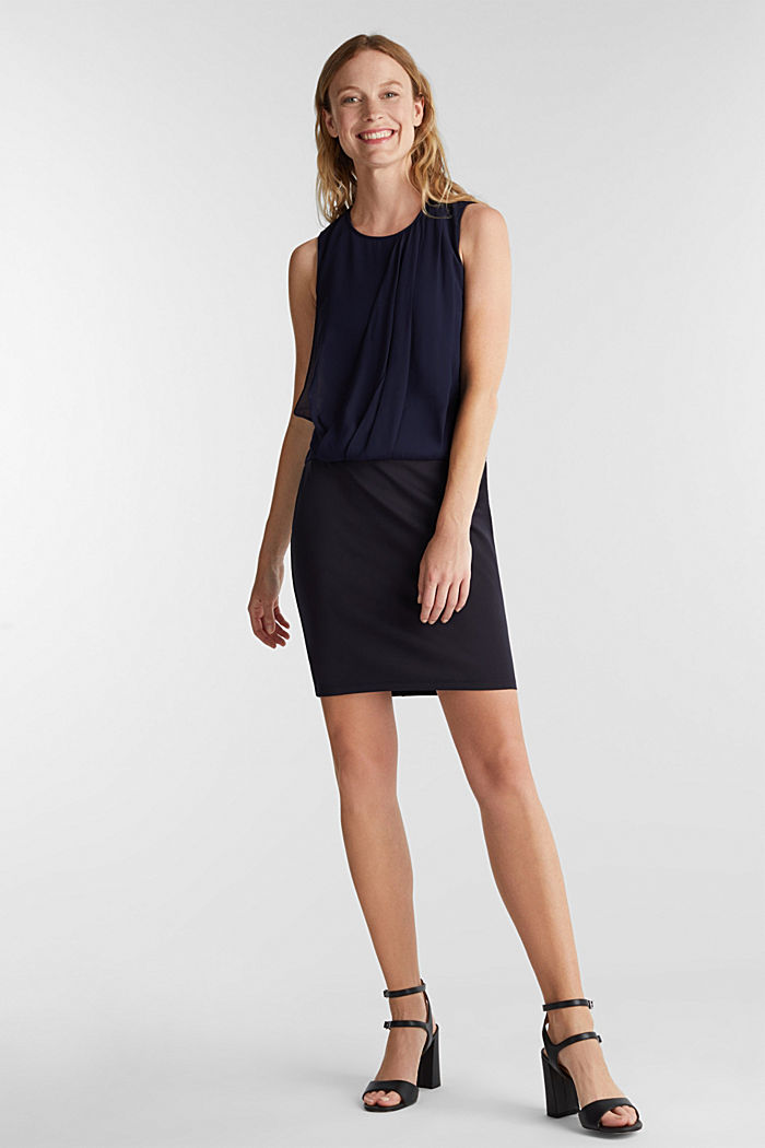 Jersey-Stretch-Kleid mit Chiffon-Layering, NAVY, detail image number 1