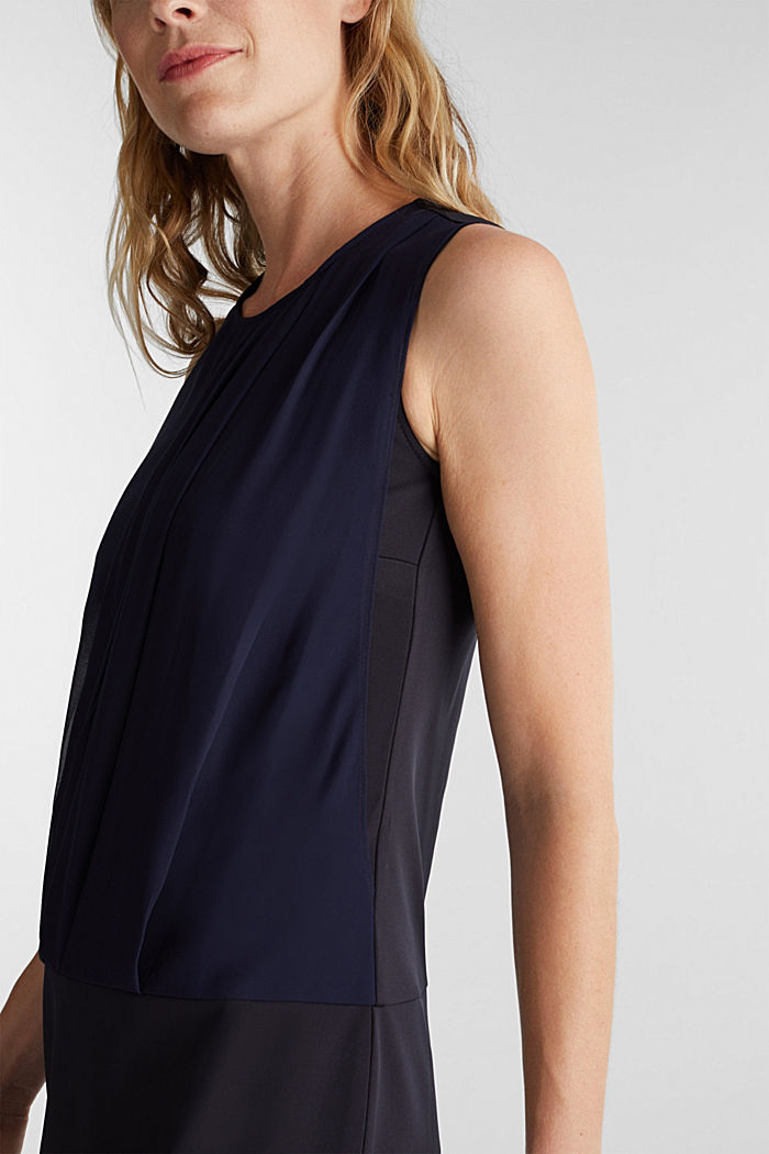 Jersey-Stretch-Kleid mit Chiffon-Layering, NAVY, detail image number 3