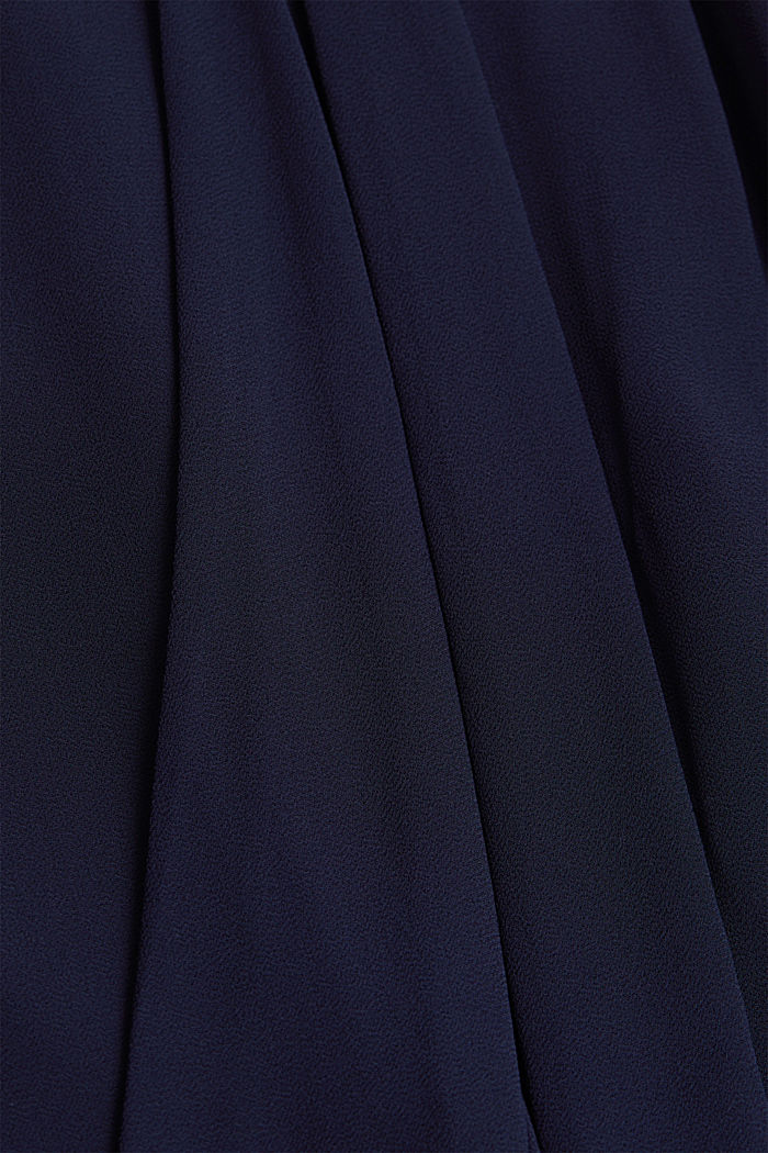 Jersey-Stretch-Kleid mit Chiffon-Layering, NAVY, detail image number 4