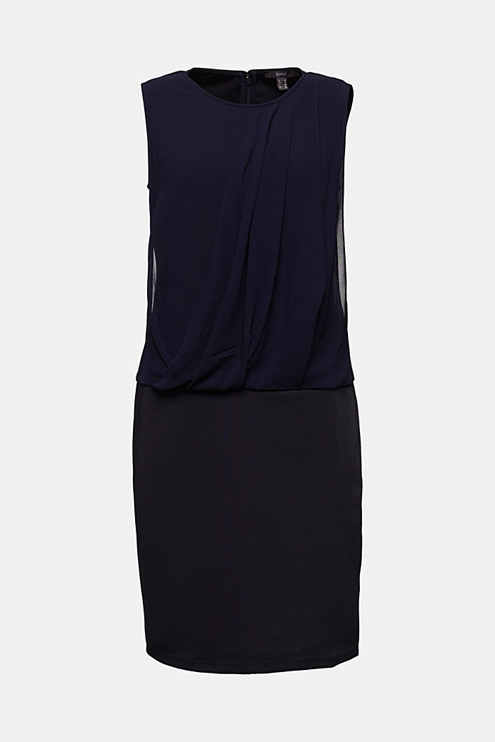 Jersey-Stretch-Kleid mit Chiffon-Layering, NAVY, detail image number 5