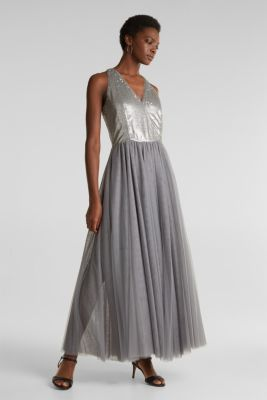 Tulle dress with sequins, GREY, detail