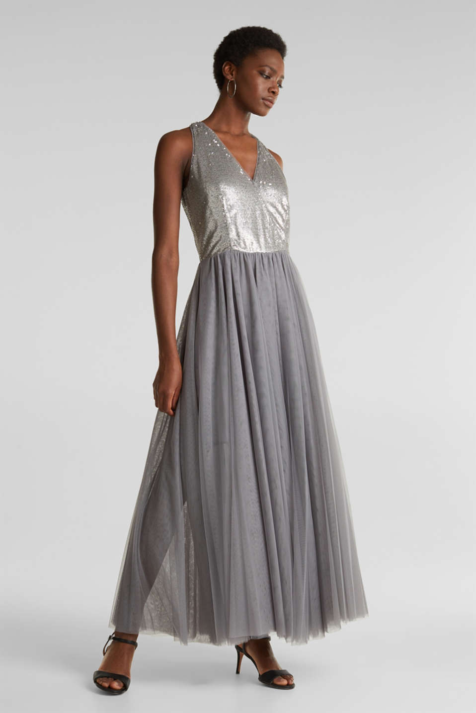 Tulle dress with sequins, GREY, detail image number 0