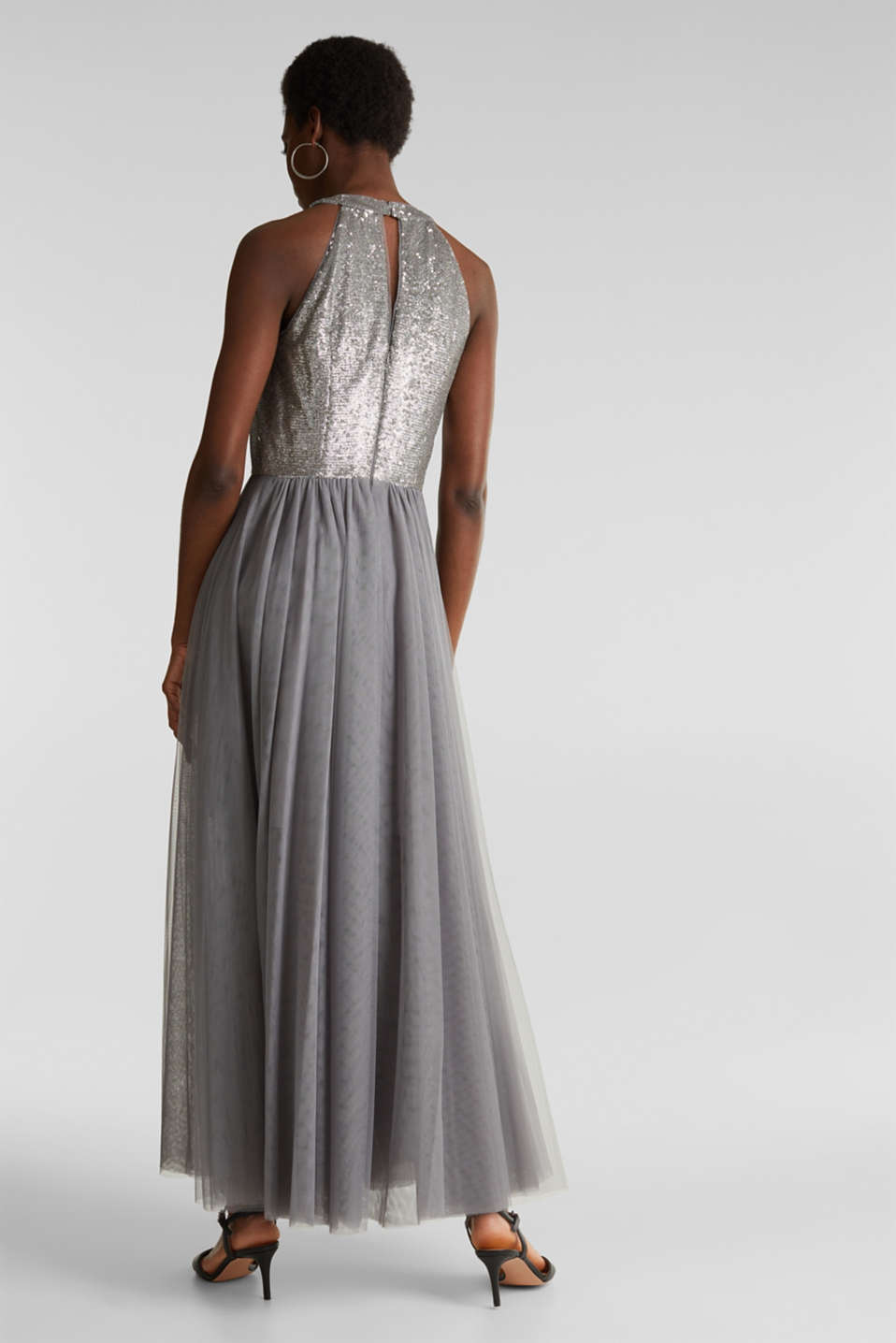 Tulle dress with sequins, GREY, detail image number 2