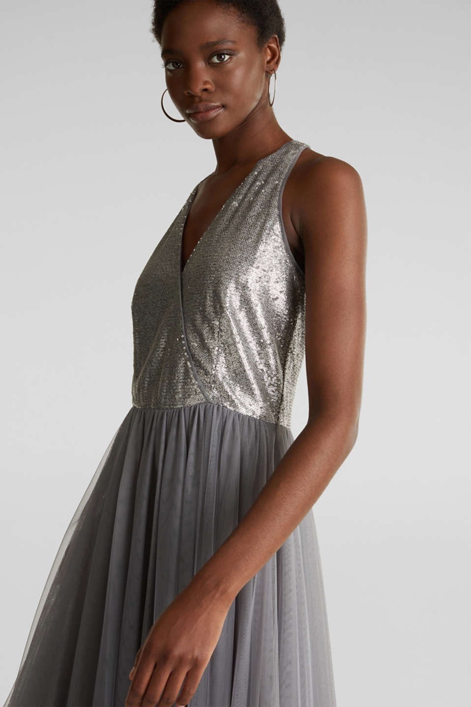 Tulle dress with sequins, GREY, detail image number 4