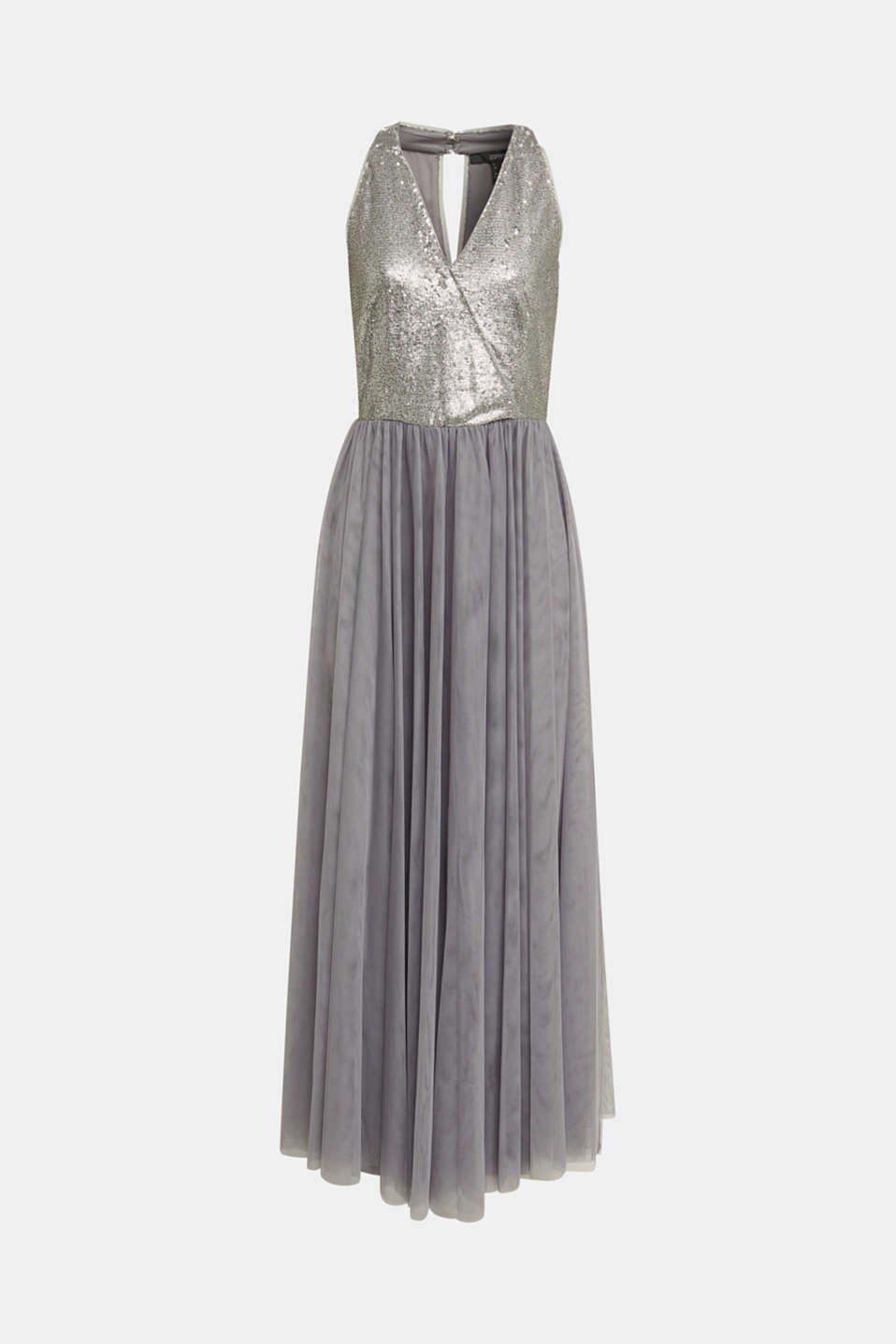 Tulle dress with sequins, GREY, detail image number 6