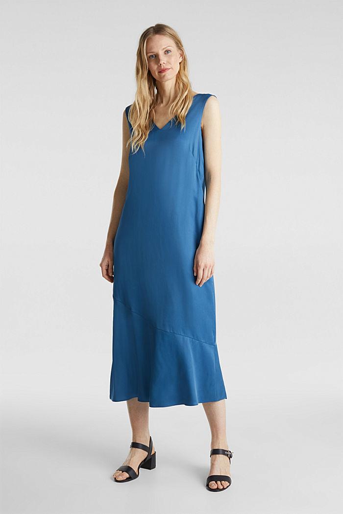 Satin dress with a flounce hem, PETROL BLUE, detail image number 0