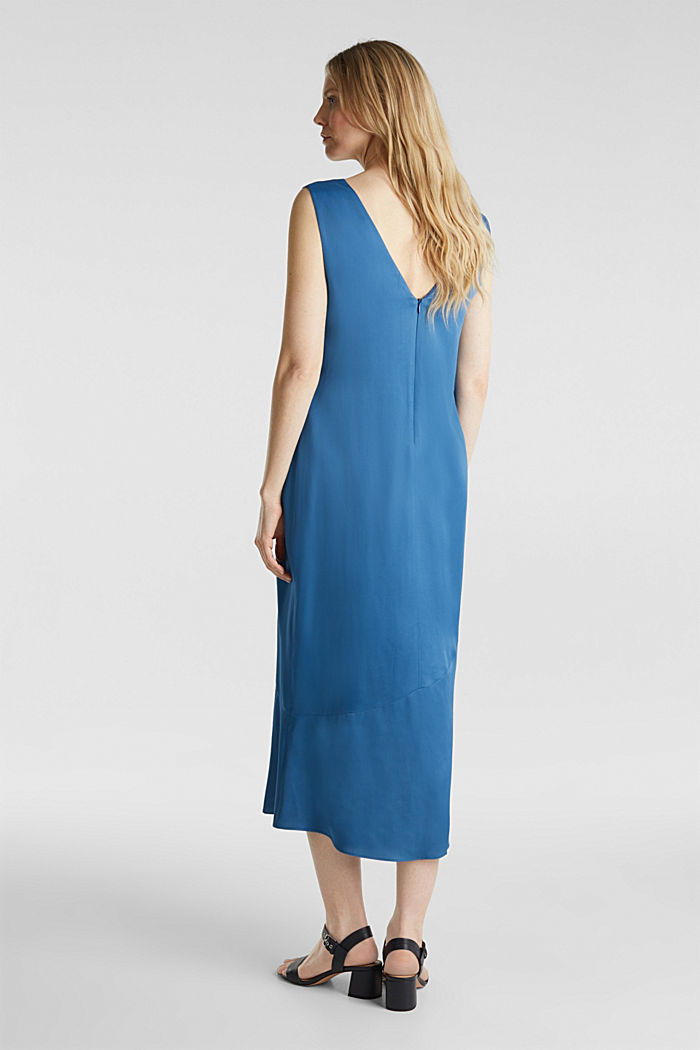 Satin dress with a flounce hem, PETROL BLUE, detail image number 2