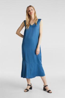 Satin dress with a flounce hem, PETROL BLUE, detail