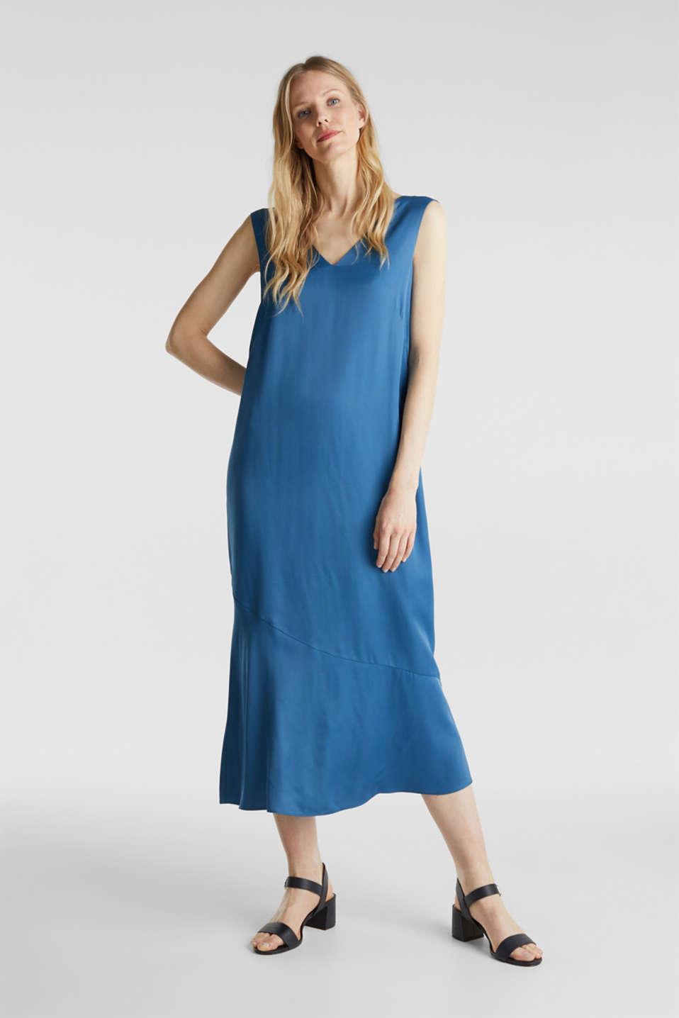 Satin dress with a flounce hem, PETROL BLUE, detail image number 1