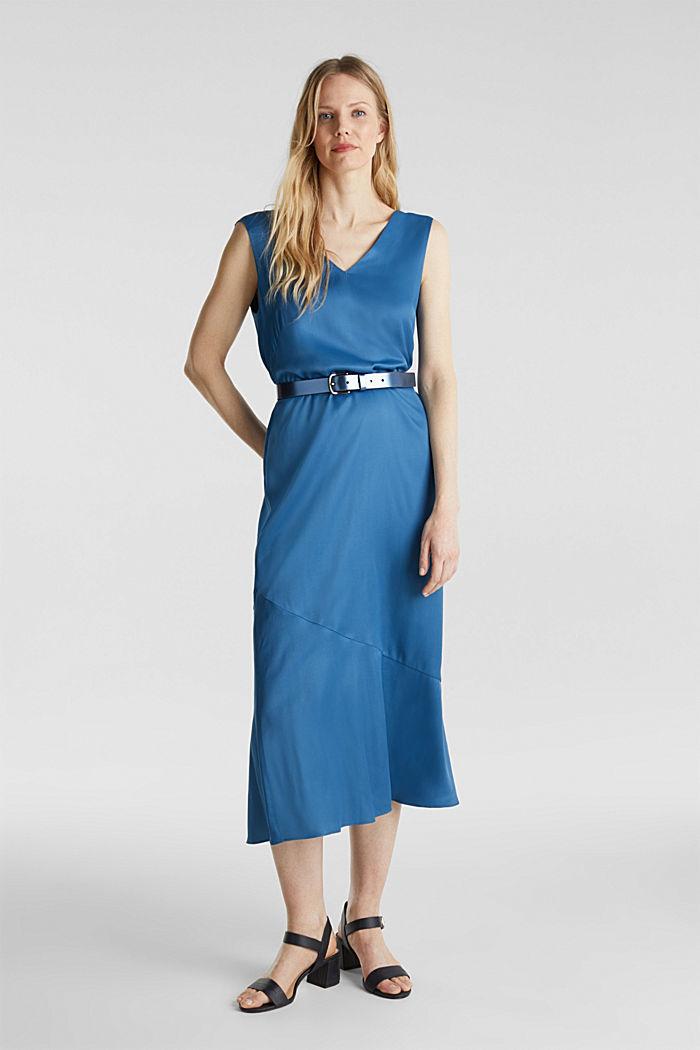 Satin dress with a flounce hem, PETROL BLUE, detail image number 6