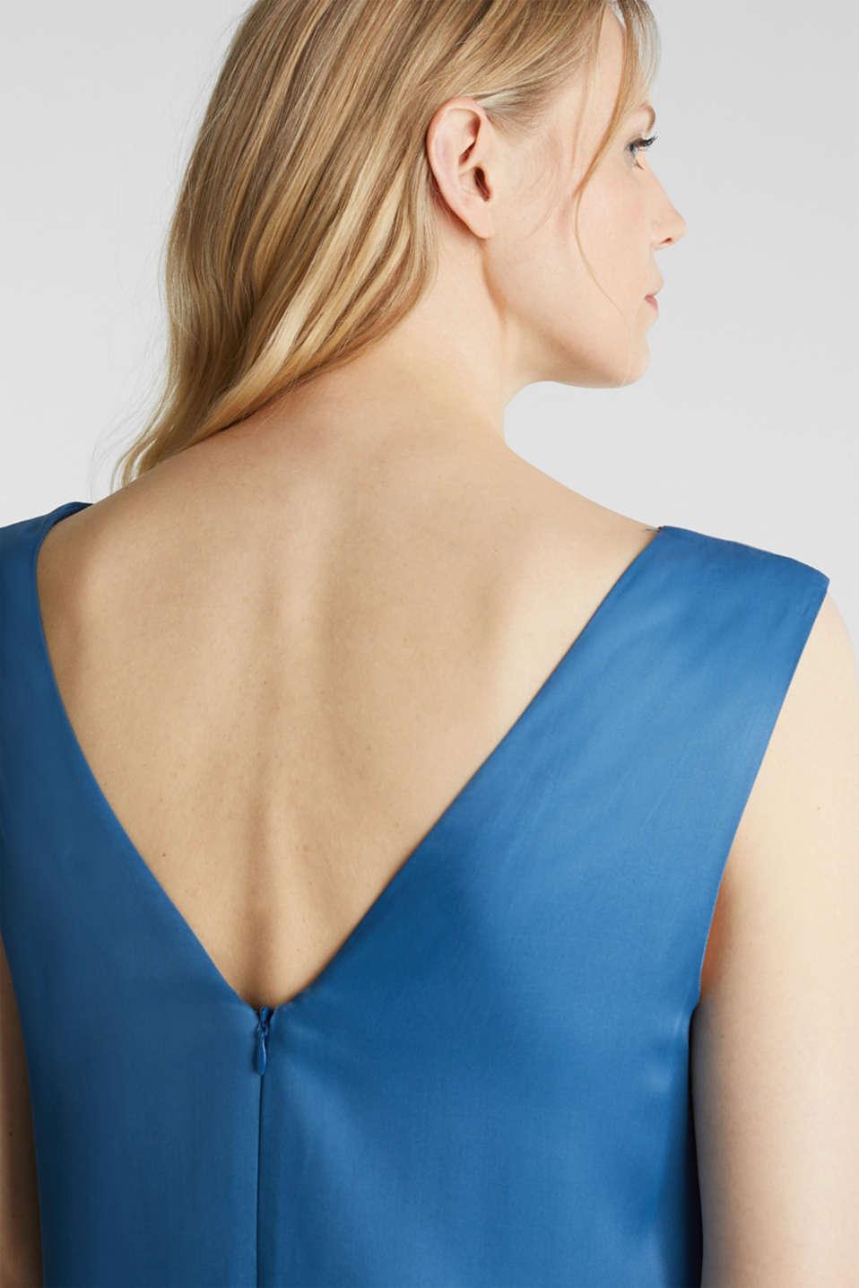 Satin dress with a flounce hem, PETROL BLUE, detail image number 3