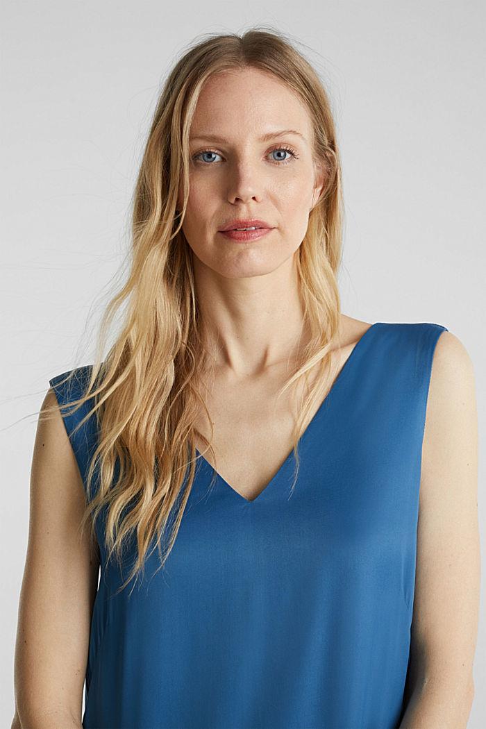 Satin dress with a flounce hem, PETROL BLUE, detail image number 5