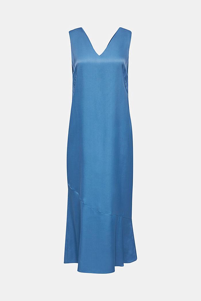 Satin dress with a flounce hem, PETROL BLUE, detail image number 7
