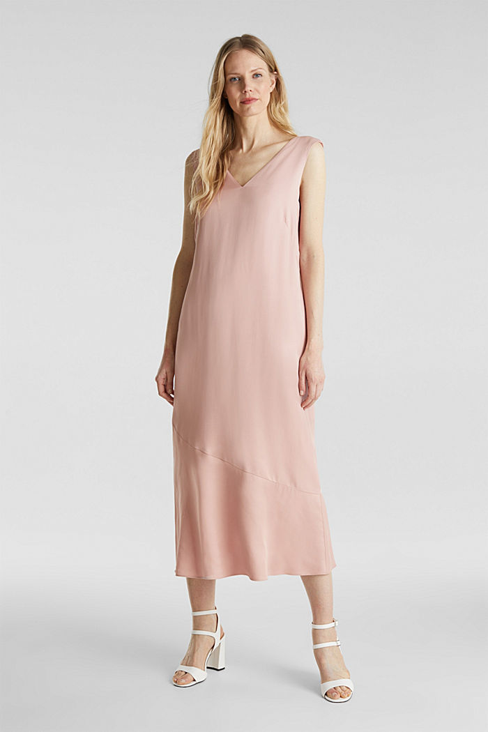 Satin-Kleid mit Saum-Volant, NUDE, detail image number 0