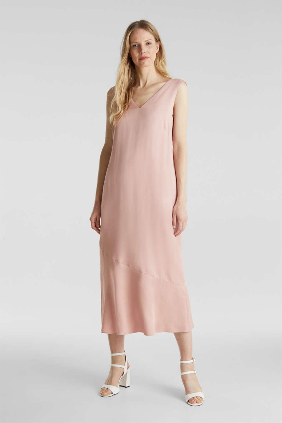 Satin dress with a flounce hem, NUDE, detail image number 0