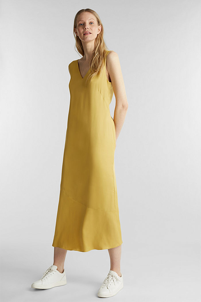 Satin dress with a flounce hem, DUSTY YELLOW, detail image number 0