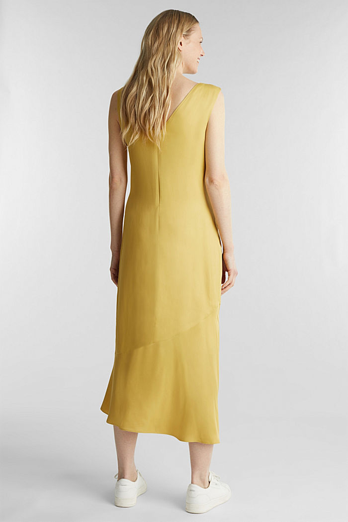 Satin dress with a flounce hem, DUSTY YELLOW, detail image number 2