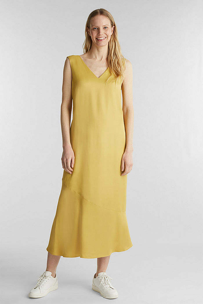 Satin dress with a flounce hem, DUSTY YELLOW, detail image number 1