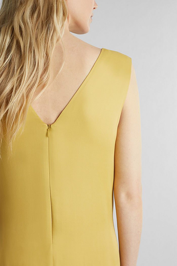 Satin dress with a flounce hem, DUSTY YELLOW, detail image number 4