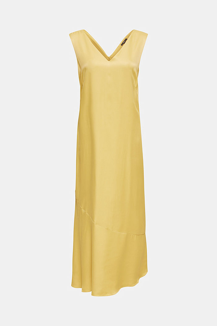 Satin dress with a flounce hem, DUSTY YELLOW, detail image number 6