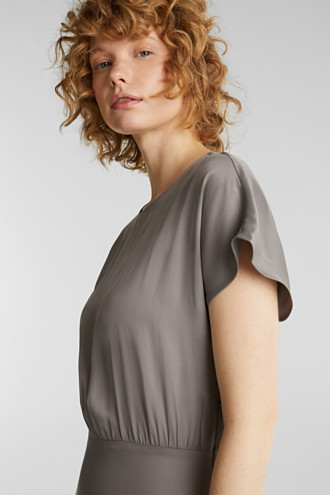 Satin dress with a swirling skirt