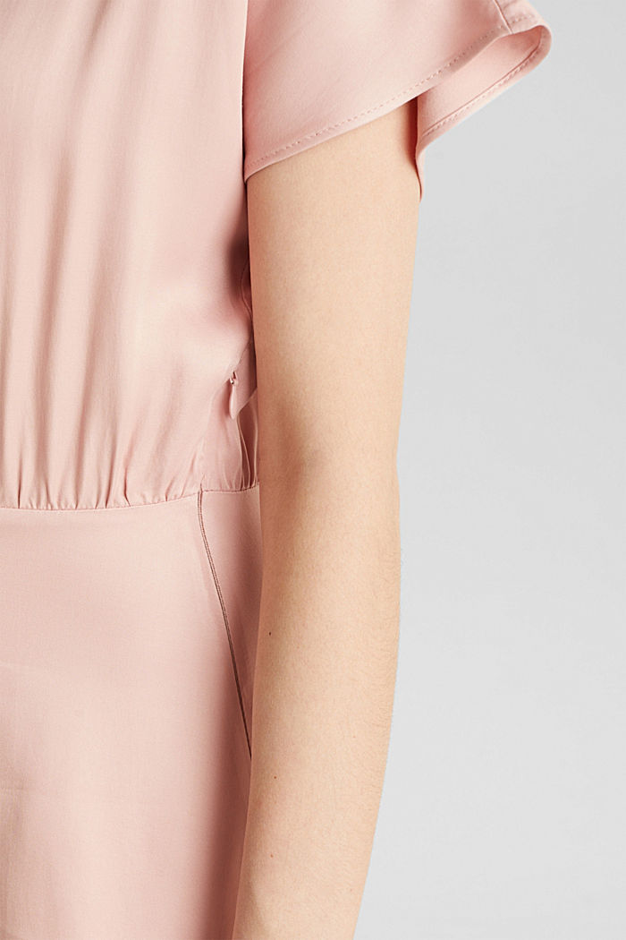 Satin dress with a swirling skirt, NUDE, detail image number 3