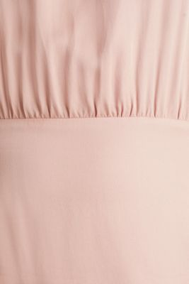 Satin dress with a swirling skirt, NUDE, detail