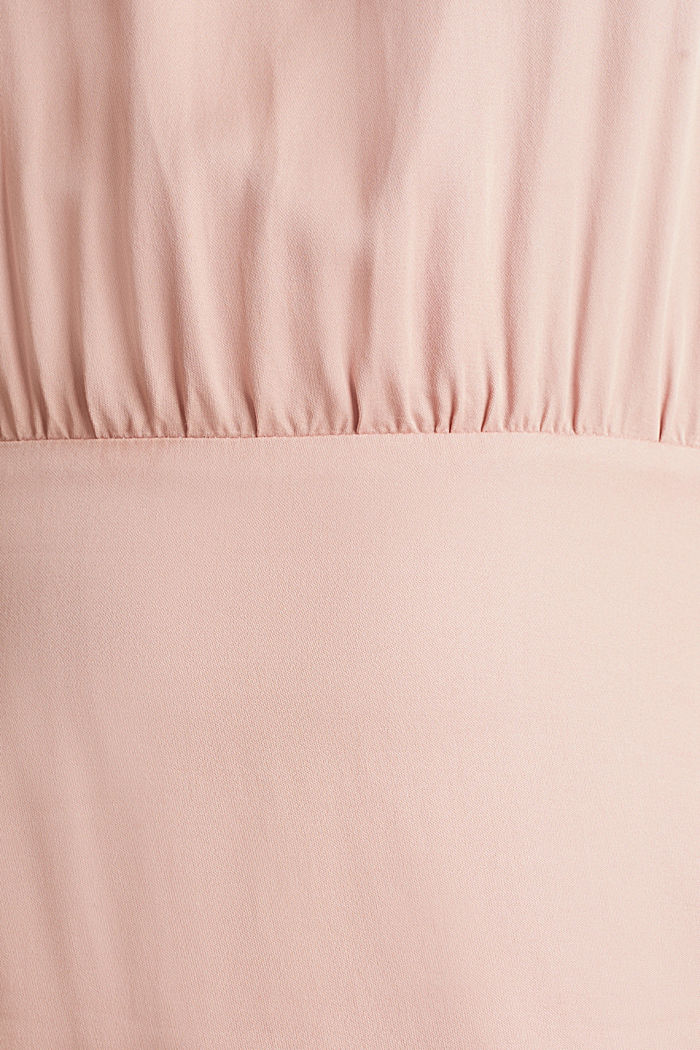 Satin dress with a swirling skirt, NUDE, detail image number 4
