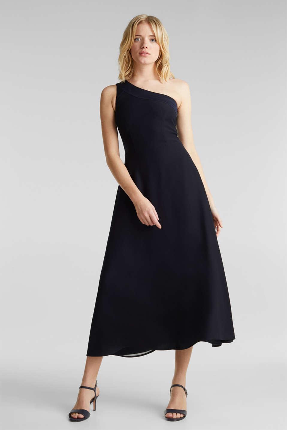 Maxi dress in a one-shoulder design, NAVY, detail image number 0