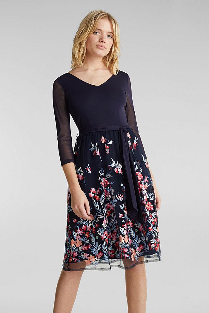 Kleid aus Mesh und Tüll mit Stickerei, NAVY, detail image number 0