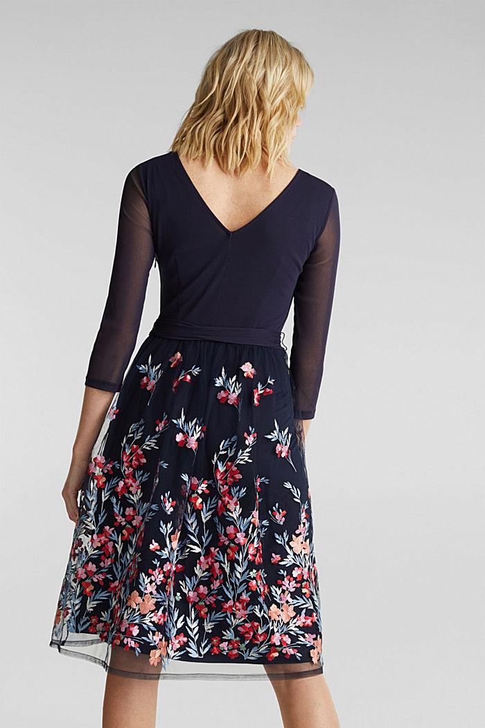 Kleid aus Mesh und Tüll mit Stickerei, NAVY, detail image number 2