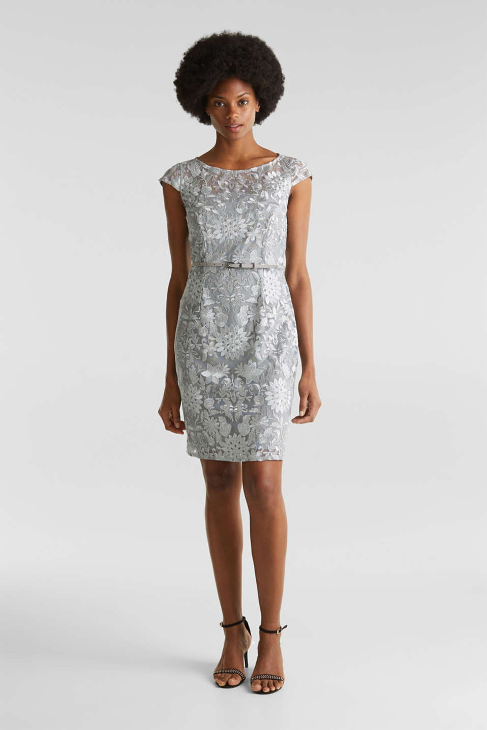 Esprit - Tulle dress with embroidery and a belt