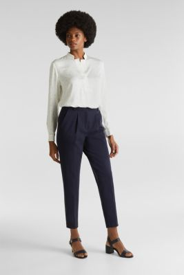Stand-up collar blouse with a polka dot print, OFF WHITE 4, detail