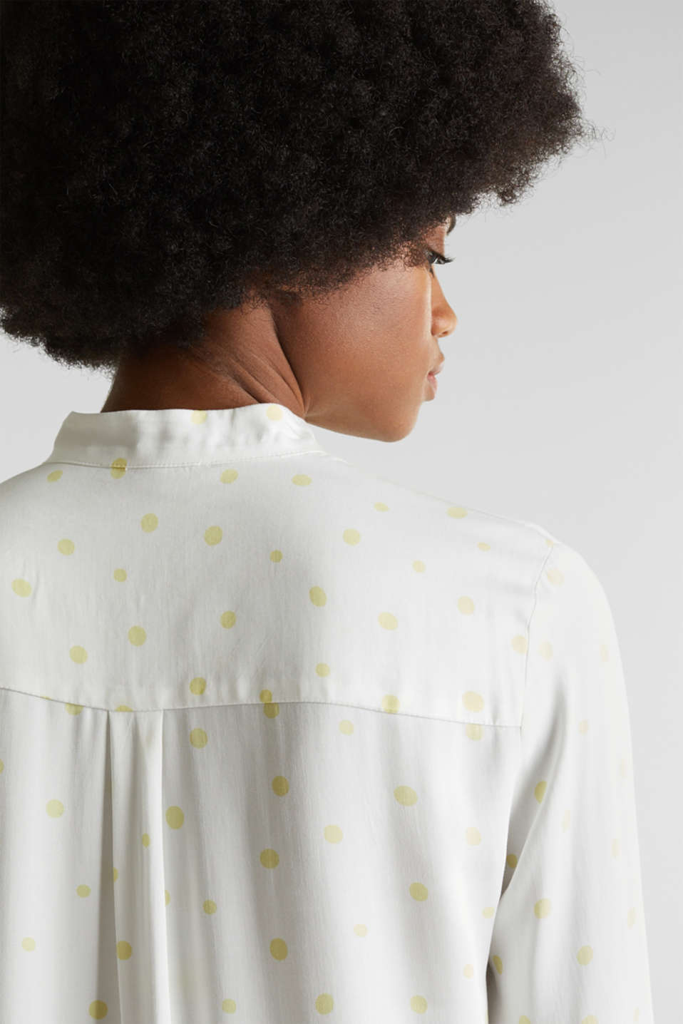 Stand-up collar blouse with a polka dot print, OFF WHITE 4, detail image number 2