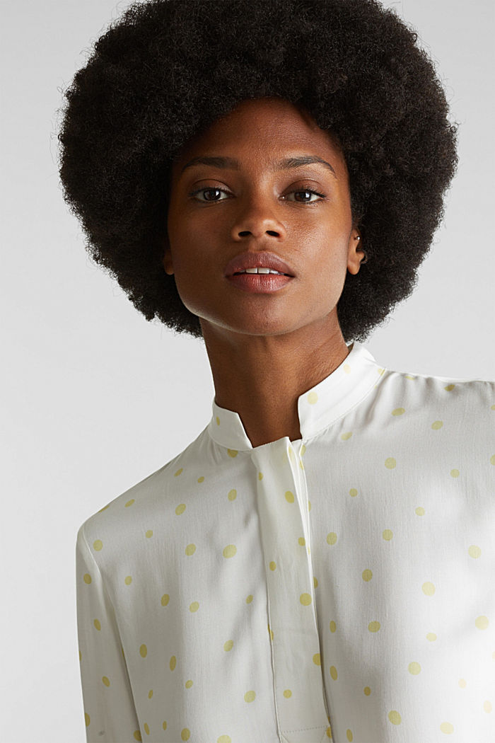 Stand-up collar blouse with a polka dot print, OFF WHITE, detail image number 6