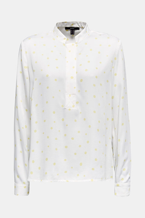 Stand-up collar blouse with a polka dot print