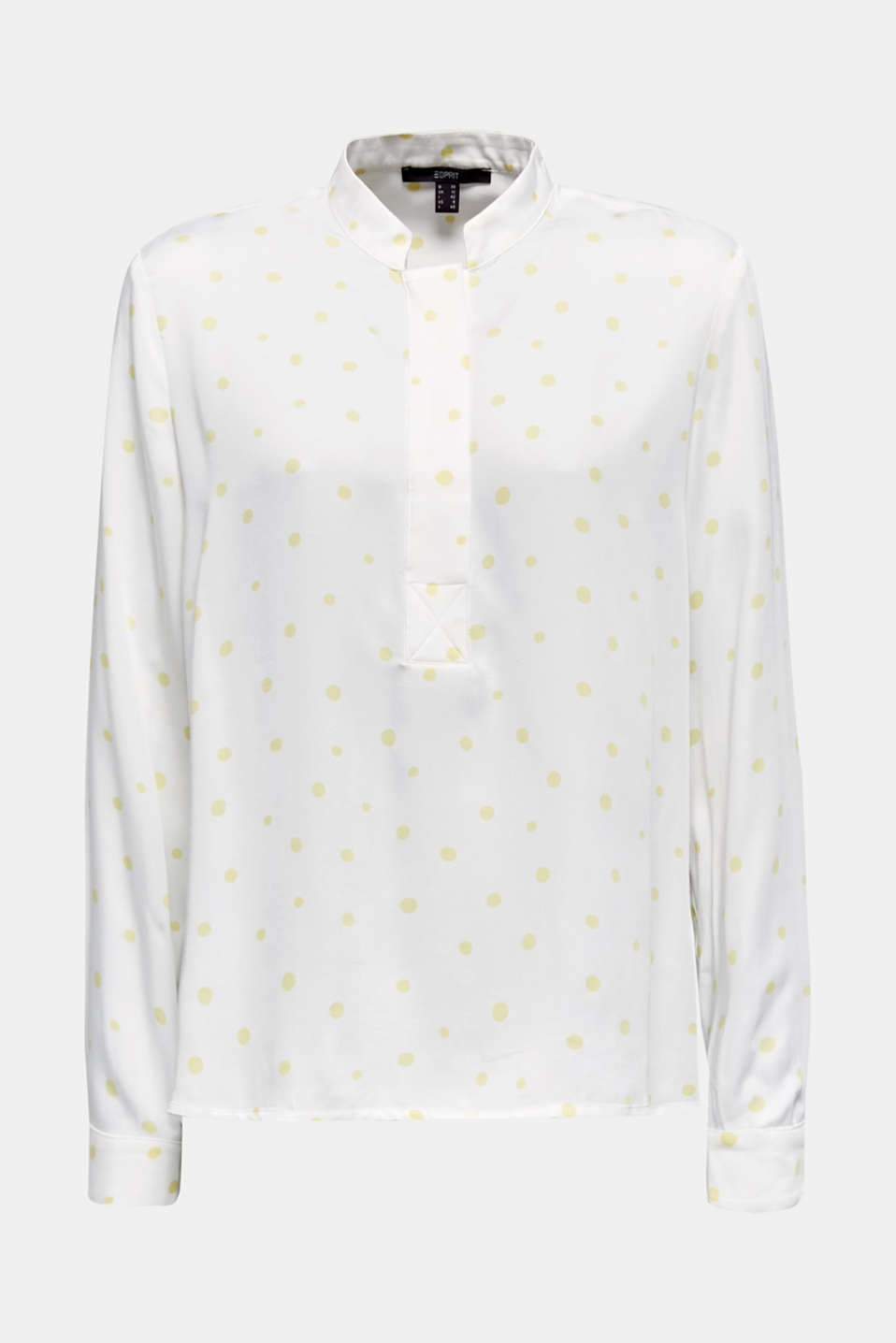Stand-up collar blouse with a polka dot print, OFF WHITE 4, detail image number 7