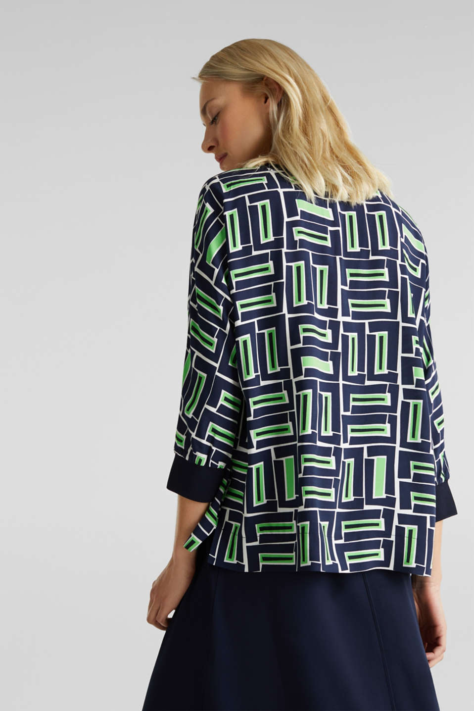 Print blouse with LENZING™ ECOVERO™, NAVY 3, detail image number 3