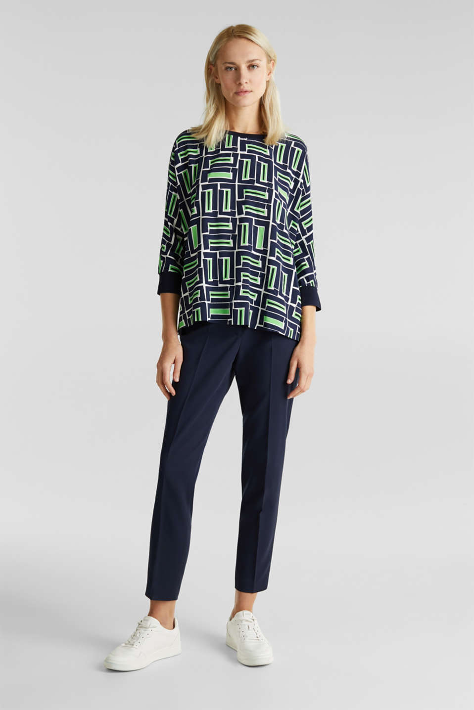 Print blouse with LENZING™ ECOVERO™, NAVY 3, detail image number 5