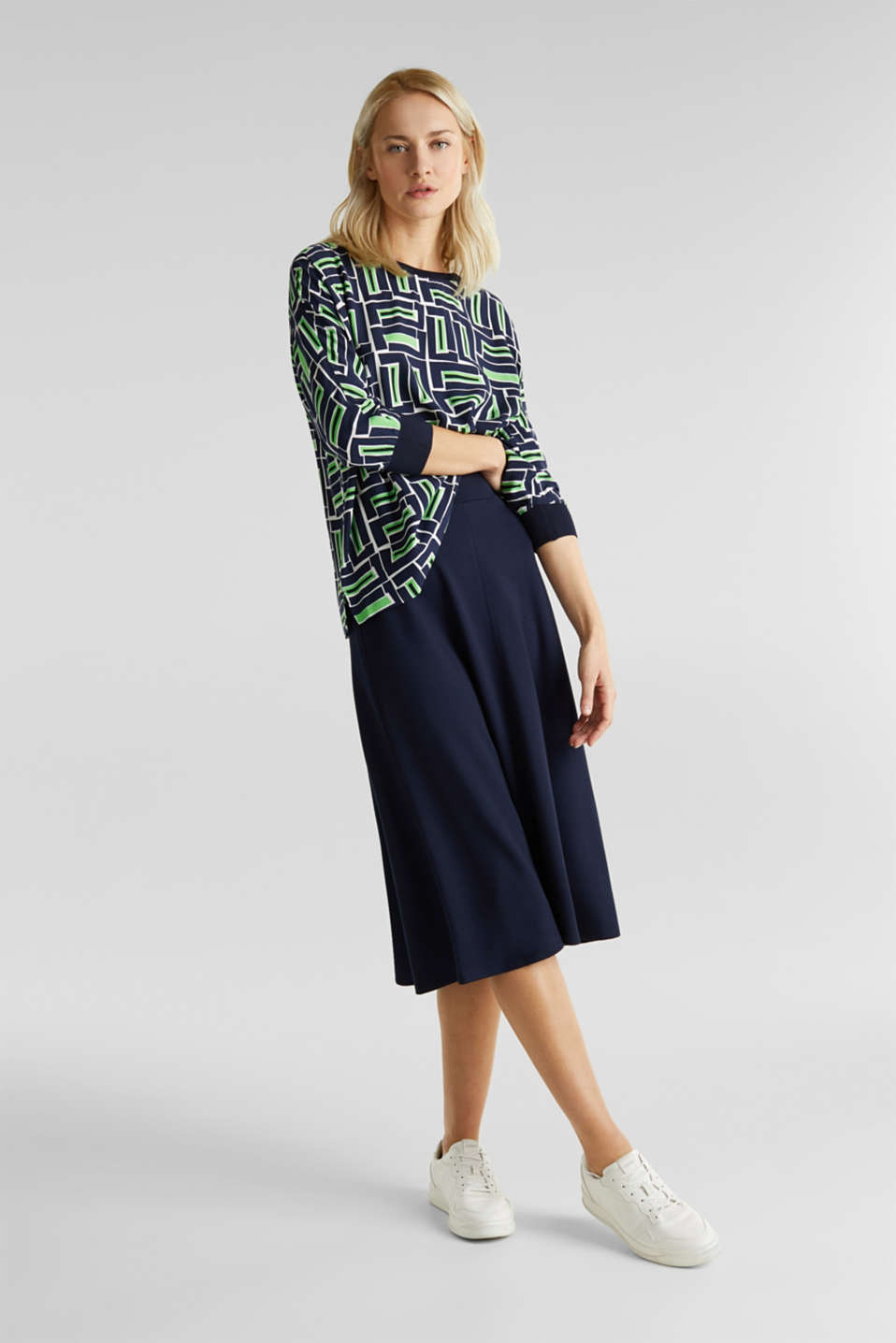 Print blouse with LENZING™ ECOVERO™, NAVY 3, detail image number 1